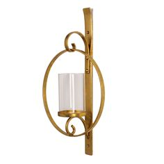 Kate and Laurel Doria Metal Wall Candle Holder Sconce, Gold Leaf Finish, Includes 6 inch Glass Pillar Sconces Living Room, Modern Wall Sconces, Candle Wall Sconces, Gold Walls, Metal Walls, Tea Lights, Wall Lights, Thing 1, Tealight Candle Holders