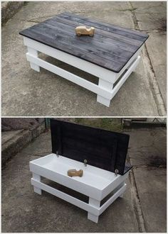 Recycled Pallet Table with Storage