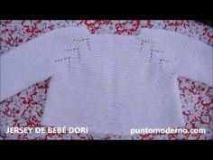 Jersey de bebé con ranglan calado, empezado por el cuello, tutorial en video e instrucciones paso a paso Baby Knitting Patterns, Knitting For Kids, Baby Patterns, Baby Cardigan, Crochet Baby, Knit Crochet, Knit Baby Sweaters, Baby Crafts, Kids Wear