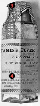 3 - In 1791 George Pearson, a respected doctor and chemist of the time, determined that James's Fever powder was made of a mix of antimony and calcium phosphate. Because antimony is a toxic substance, the powder was deemed a contributing factor to the death of author Oliver Goldsmith in 1774. 4- In addition to single-use packets, the medicine was also one of the first to be distributed in a multidose bottle. © Wellcome Library, London