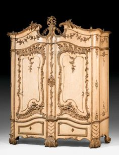 An important and rare German ivory painted and carved silvered wood schrank by Johann August Nahl Potsdam circa 1760 Estimate — GBP - unsold Furniture Board, Fine Furniture, Furniture Projects, Antique Furniture, Painted Furniture, Furniture Design, Fries, Wardrobe Cabinets, Closets