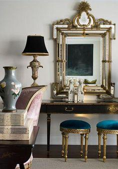 Elegant Mirror and blue velvet stools