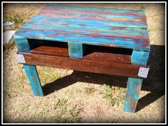 Colorfully Painted and Stained Reclaimed Pallet Wood Coffee or Side Table with Metal Braces