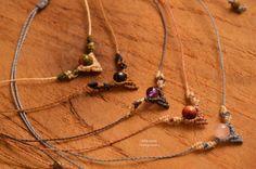 Macrame danty necklacefiber arttextile artfashion by Mikrame