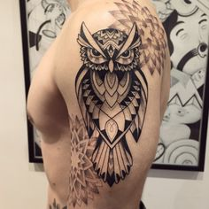 Un grand merci JP ! #hibou #mandala #tattoo #bleunoir #violettetattoo #blackwork #dotwork #violette_bleunoir