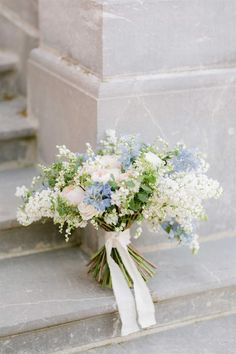 For this Château Bouffémont wedding shoot, Sara Damien of Rouge Wedding was inspired by an elegant French bride and this beautiful castle venue. In a peaceful haven erected in the nineteenth… Small Wedding Bouquets, Bridal Bouquet Blue, White Wedding Flowers, Bride Bouquets, Bridal Flowers, Flower Bouquet Wedding, Floral Wedding, Wedding Flower Arrangements, White And Blue Flowers
