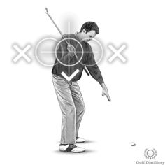 Backswing Drill - Step 3: When your elbow is at a 90 degree angle your chest should be between your hands and the target Golf Backswing, Golf Chipping Tips, Behind The Lines, Best Positions, Golf Lessons, Golf Tips, Distillery, Golf Clubs, In The Heights