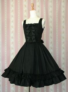 Robes sans manches Lolita sangles noir