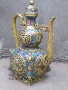 "13""Chinese Royal Cloisonne bronze chrysanthemum dragon Kirin Kylin Teapot"