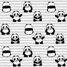 little pandas on stripes || pandamonium fabric by littlearrowdesign on Spoonflower - custom fabric
