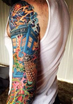 There are Dr. Who tattoos, then there are full-sleeve full-color holy-amazeballs-look-at-that-intricate-detail Dr. Who tattoos!
