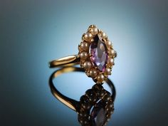 Pearl Jewelry, Antique Jewelry, Engagement Rings Under 500, Yellow Gold Rings, Heart Ring, Amethyst, England, Gems, Pendants