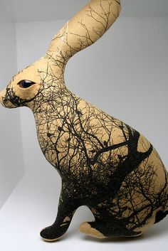 """actually silk screened fabric work - would love to see it in clay Twig the Jack Rabbit by """"Look What I Can Do"""" (Dawn? Sculptures Céramiques, Art Sculpture, Rabbit Sculpture, Jack Rabbit, Rabbit Art, Ceramic Animals, Clay Animals, Ceramic Clay, Ceramic Pottery"""