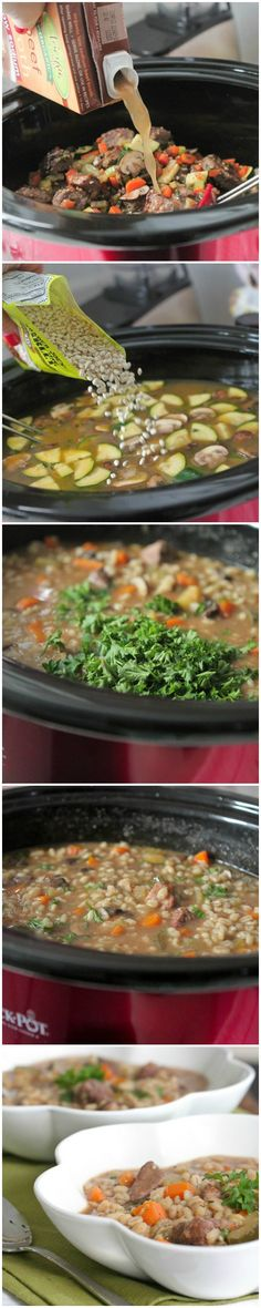 Slow Cooker Beef and Barley Soup!  Comfort food in a bowl plus makes the house smell amazing all day :) picky-palate.com