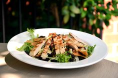 Grilled chicken salad with mixed greens, black bean and corn salad ...