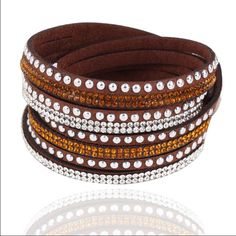 Double wrap bracelet NWOT Brown faux leather with rhinestones snap closure Jewelry Bracelets