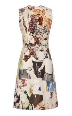 Shop Sleeveless Printed Wool Canvas Dress by Carven - Moda Operandi