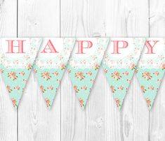 Items similar to Shabby Chic Birthday Banner - Vintage Pearls and Lace Inspired Decorations. DIY Printable Pennant Banner on Etsy Shabby Chic Invitations, Vintage Invitations, Shabby Chic Birthday, Vintage Birthday, First Birthday Parties, Girl Birthday, Butterfly Garden Party, Shabby Chic Boutique, Wall Banner