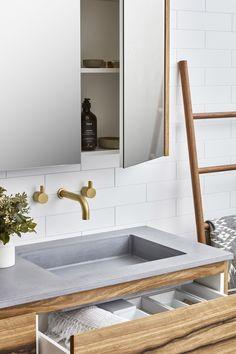 New Bathroom Vanity Concrete Top Ideas Concrete Basin, Concrete Bathroom, Bathroom Flooring, Bathroom Furniture, Upstairs Bathrooms, Small Bathroom, Bathroom Hacks, Boho Bathroom, Industrial Bathroom