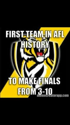 Tigers make history! Richmond Football Club, One Team, Tigers, History, My Love, Words, Man Cave, Pictures, Yellow