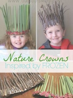 OutdoorsMom: Nature Crowns Inspired By Frozen What a great DIY idea for the kid. - OutdoorsMom: Nature Crowns Inspired By Frozen What a great DIY idea for the kids or grandkids when - Forest School Activities, Nature Activities, Preschool Activities, Children Activities, Summer Activities, Camping Activities For Kids, Kids Crafts, Easy Crafts, Kids Nature Crafts