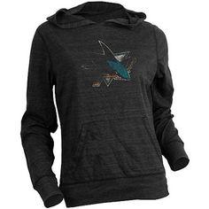 Old Time Hockey San Jose Sharks Women's Blasted Tri-Blend Hooded Long Sleeve T-Shirt