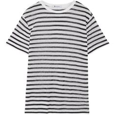 T by Alexander WangStriped Stretch-jersey T-shirt (145 AUD) ❤ liked on Polyvore featuring tops, t-shirts, midnight blue, stripe top, relaxed fit t shirt, striped top, relaxed tee and stripe t shirt