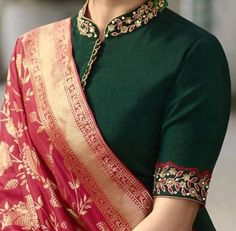 Dress Pattern Indian Blouse Designs Ideas For 2019 Blouse Designs High Neck, Silk Saree Blouse Designs, Fancy Blouse Designs, Bridal Blouse Designs, Blouse Designs Embroidery, High Neck Saree Blouse, Embroidery Blouses, Saree Blouse Patterns, Embroidery Patterns