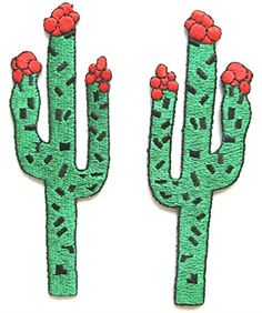 "[2 Count Set] Custom and Unique (1 1/8"" by 3 1/4 Inches) Desert Plants Left and Right Cactus With Flowers Iron On Embroidered Applique Patch {Green,Red, and Black} mySimple Products http://www.amazon.com/dp/B013HCVELG/ref=cm_sw_r_pi_dp_5.zGwb1KWPZPF"