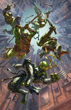 Teenage Mutant Ninja Turtles variant cover by Alan Quah, colours by Sean Lee * Teenage Mutant Ninja Turtles, Ninja Turtles Art, Thundercats, Geeks, Arte Dc Comics, Mileena, Otaku Anime, Caricatures, Game Art