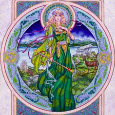 Ériu, spiorad sidhe oilean iathghlas ~ by Jim Fitzpatrick // Ériu, who gave her name to the island of Éireann / Érin = Ireland, was a princess of the legendary Tuatha Dé Danann, known also as the Sidhe or Fairy Folk, and is one of the three devine eponyms of Ireland. Ériu, Banba & Fodhla were the three warrior-goddess who reigned in Ireland at the time of the coming of the tribe known as the Milesians in ancient times & her name is remembered to this day