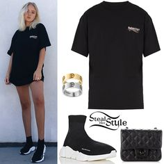 Maddi Bragg posted some pictures on instagram a few days ago wearing a Balenciaga Logo Print T-Shirt ($209.00), a Chanel So Black Quilted Square Mini Flap Bag (Not available online), Cartier Love Rings in Yellow Gold ($1,650.00) and White Gold ($1,770.00), and Balenciaga Knit High-Top Sneakers ($595.00). You can find similar sneakers for less at Charles & Keith ($49.00).