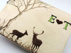 Forrest Deer Guestbook, Custom Rustic Wood Wedding Guestbook, Wooden Wedding…