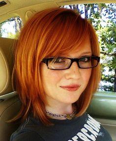 Redhead bob haircut