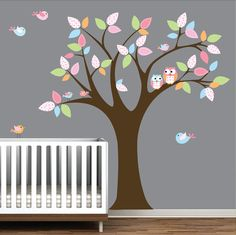Childrens Vinyl Wall Decals Tree with Boy Girl Owls by Modernwalls, $99.00…