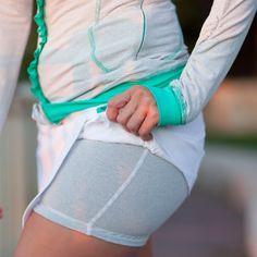 Surprise! Stripey Shorts built into a Running Skirt!