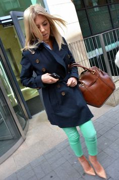 Find all the latest fashion, beauty, sex tips and celebrity news from Cosmopolitan UK. Preppy Style, Style Me, Mint Pants, Rochelle Humes, Mollie King, Navy Coat, Amai, Modern Fashion, Fashion Ideas