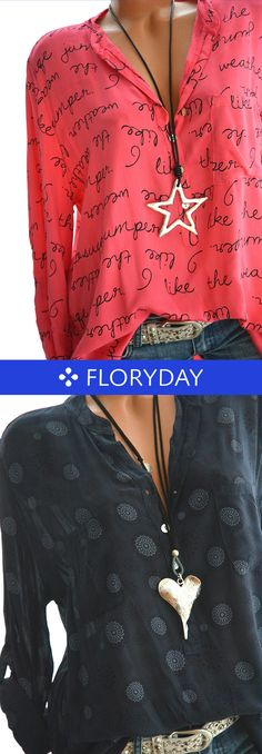 Alphabet Polyester V-Neckline Long Sleeve Blouses, alphabet blouse, fashion blouse, blouse 2018, Spring summer 2018 blouses