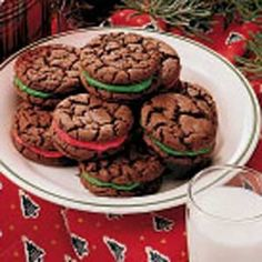 Chocolate Sandwich Cookies. These cookies are AMAZING! Probably one of the best cookies I have ever had. Everybody I have made them for LOVES them and you can use whatever color you want for the filling.