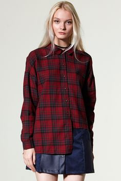 Seria Back Ribbon Check Shirt Discover the latest fashion trends online at storets.com