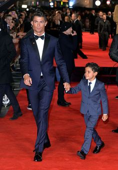 Cristiano Ronaldo and Cristiano Ronaldo Jr attend the World Premiere of 'Ronaldo' at Vue West End on November 9 2015 in London England