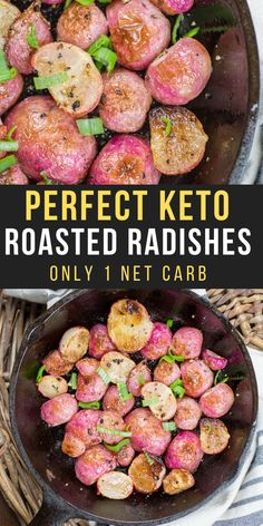 Try these Keto Roasted Radishes for an easy low carb side dish! Each serving is under 2 net carbs and packed with flavor! Try these Keto Roasted Radishes for an easy low carb side dish! Each serving is under 2 net carbs and packed with flavor! Low Carb Side Dishes, Side Dish Recipes, Lunch Recipes, Vegetable Recipes, Easy Dinner Recipes, Low Carb Recipes, Cooking Recipes, Healthy Recipes, Skinny Recipes