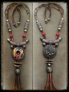 Авторская бижутерия и декор от Татьяны Липатовой Bohemia Jewelry, Gypsy Jewelry, Beaded Jewelry, Tribal Jewelry, Handmade Leather Jewelry, Handmade Jewelry Designs, Custom Jewelry, Polymer Clay Pendant, Polymer Clay Jewelry