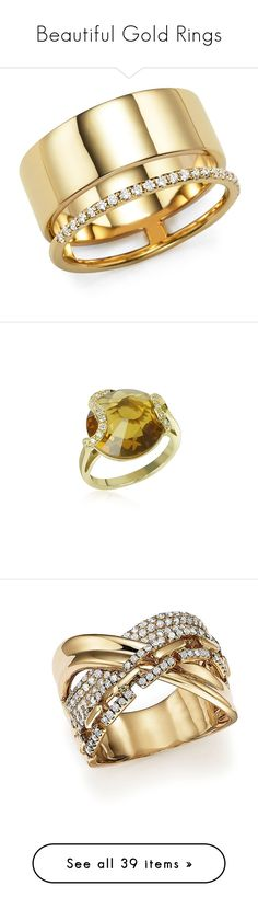 """""""Beautiful Gold Rings"""" by chechetta ❤ liked on Polyvore featuring jewelry, rings, gold diamond rings, 14 karat gold diamond ring, 14k gold jewelry, gold rings, yellow gold rings, white, round diamond ring and 18k diamond ring"""