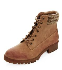 New Look Tan Knitted Cuff Lace Up Boots