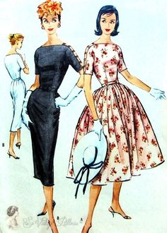 1950s Cocktail Party Dress Pattern Figure Hugging Slim or Full Skirt Bateau Neckline, Cut Out Arms McCalls 4521 Vintage Sewing Pattern Bust 34