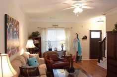 Beautiful hardwood floors in this spacious living room at The Station.