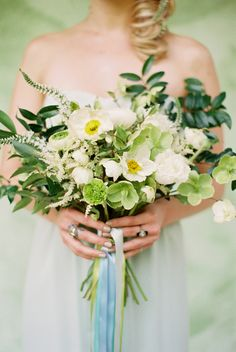 boho green bouquet - photo by Amy Nicole Photography http://ruffledblog.com/monochromatic-bride-flower-guide