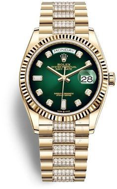 Day-Date 36 Green Dial 18kt Yellow Gold Diamond-Set President Watch 128238GNDDP Rolex Watches, Watches For Men, Gold Rolex, Rolex Day Date, 3 O Clock, Gold Hands, Automatic Watch, Flute, Gold Watch