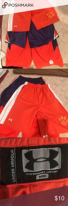 Lot of 3 Clemson basketball shorts  3 pairs of Clemson basketball shorts. 1 Nike- size large. 1 under Armour- size medium. 1 pro edge-size medium. Nike Shorts Athletic
